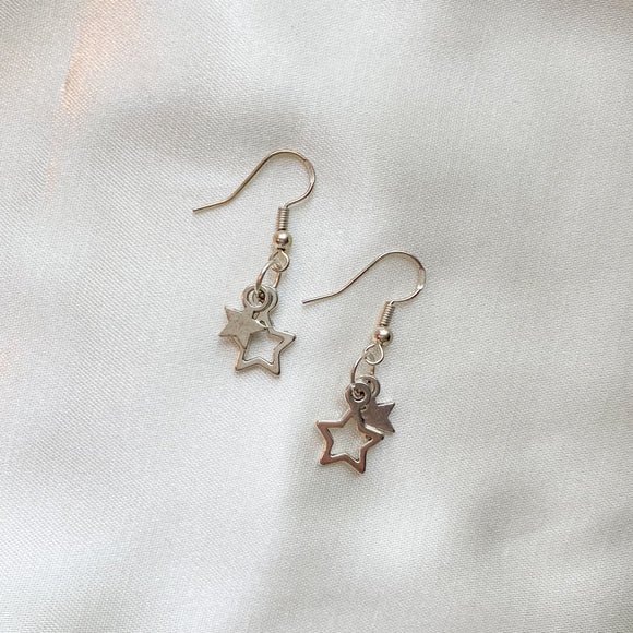Silver Star Dangle Earrings