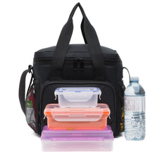 Load image into Gallery viewer, Cooler Lunch Bag (10 x9.5 x7 Inc) 600D Strong Polyester Fabric, Multiple Pockets, Strong Zippers