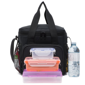 Cooler Lunch Bag (10 x9.5 x7 Inc) 600D Strong Polyester Fabric, Multiple Pockets, Strong Zippers