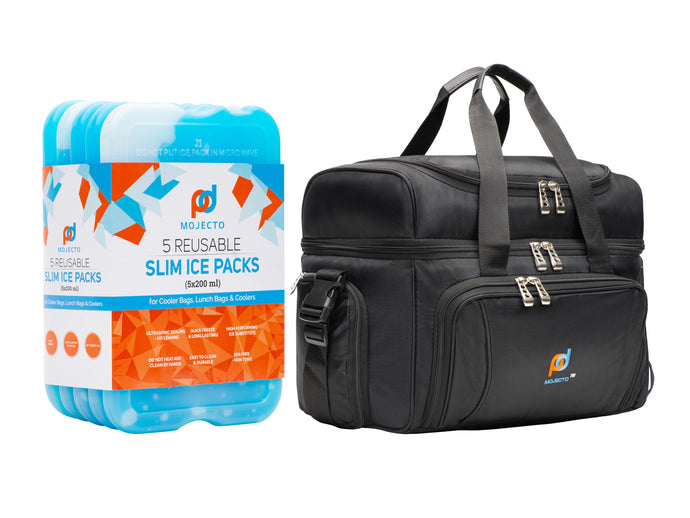 BUNDLE: Large Cooler Bag Plus Ice Pack. Dual Insulated, Heavy Duty Fabric, Thick Insulation, 2 Heat Sealed Liner, Double Zipper, Padded Straps. 5-Pack, Slim, Reusable, Long-Lasting, Ice Packs Gel.