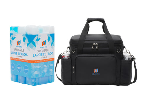 BUNDLE: Large Tall Cooler Bag Plus Large Thick Reusable, Long-Lasting, Ice Pack Gel (3 Pack). 1680D Heavy-Duty Polyester, High Density Insulation, Heat-Sealed Liner, Durable Zippers, Metal Buckles.