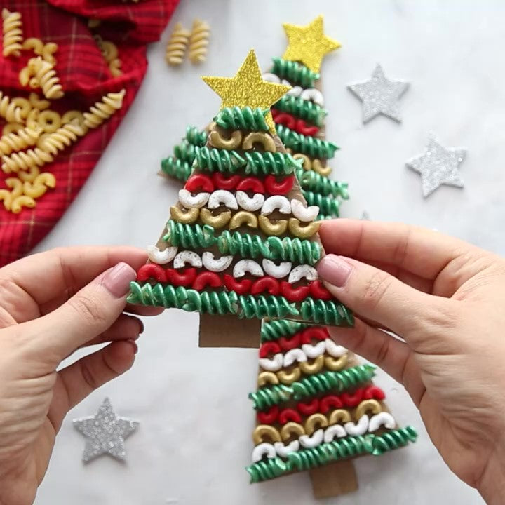 Easy DIY Christmas Ornament with Raw Pasta