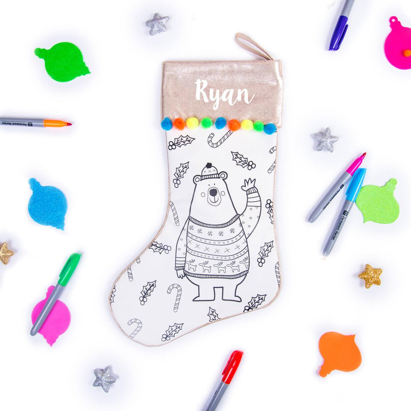 Christmas Stocking, Merry Christmas, Bear, Christmas Gifts, Personalised Gifts for Kids, Holiday Gifts