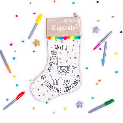 Colour-Me-In Stocking: Llamazing Christmas - Ellybean Designs India