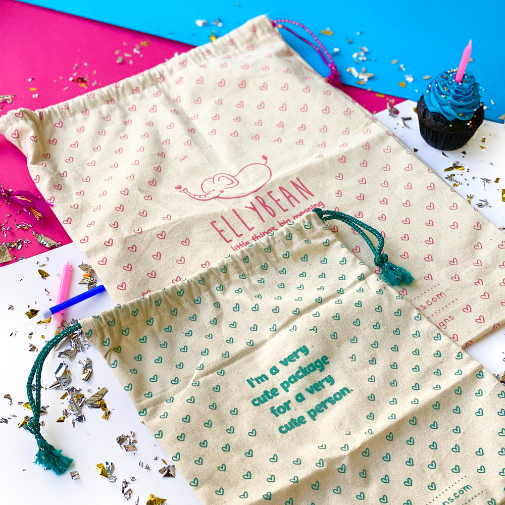 Matching Utility Pouch & Bag Tag Set - Ellybean Designs India