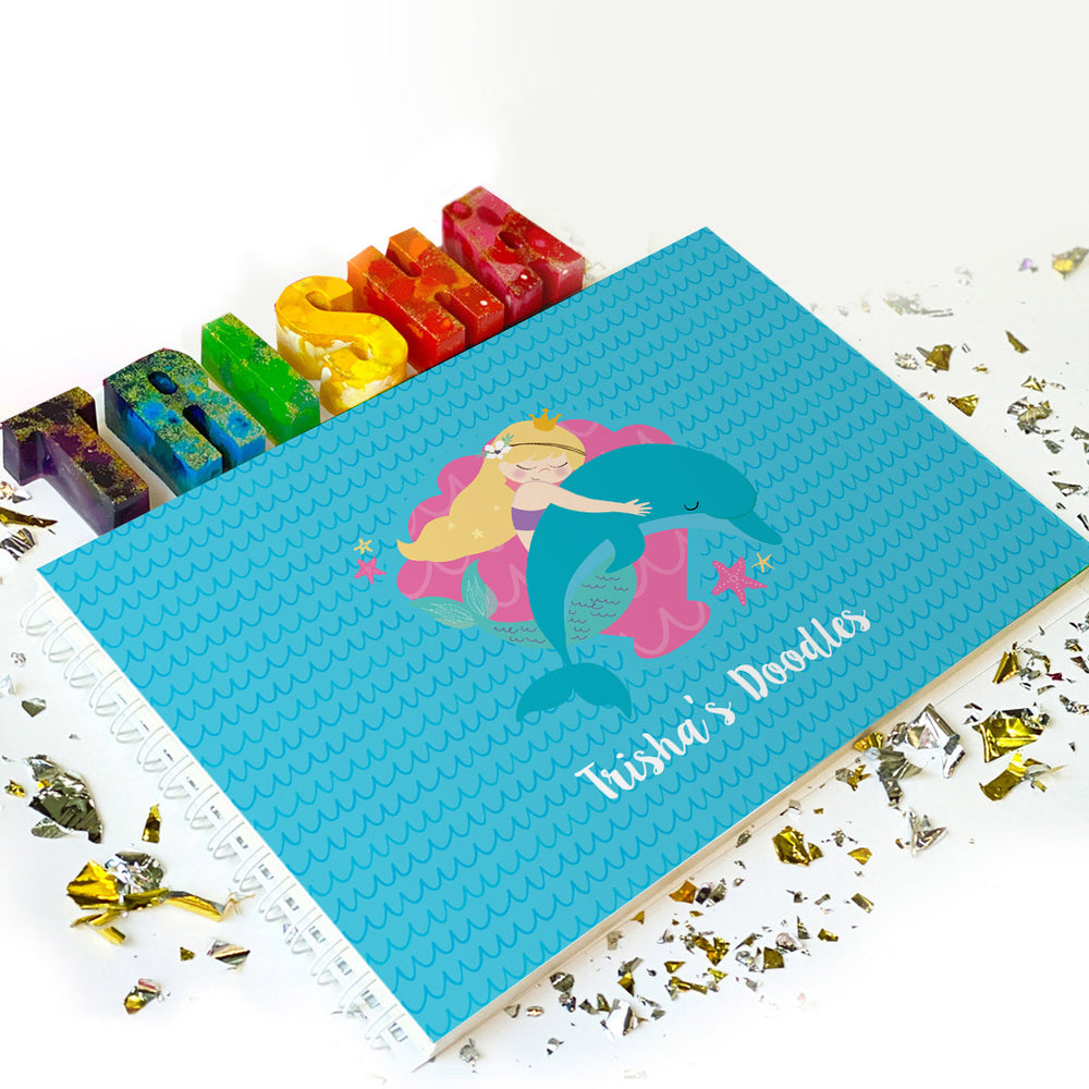 Little Artist Gift: Doodle Book & Name Crayon Set - Ellybean Designs India