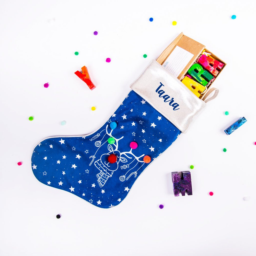 Personalized Rudolph Stocking - Ellybean Designs India