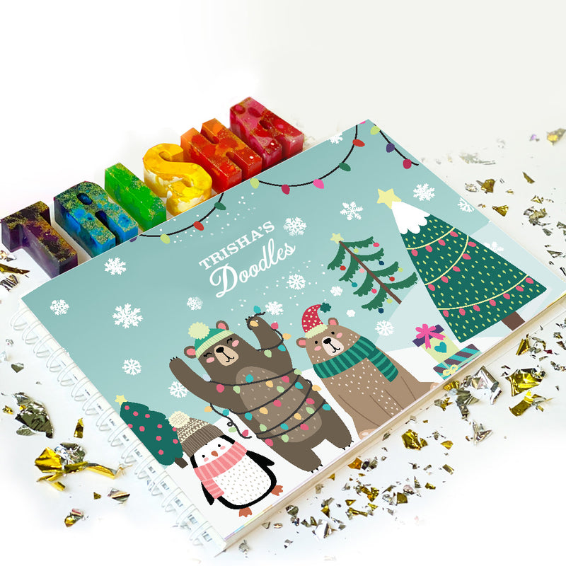 Little Artist Christmas Bundle: Doodle Book & Name Crayons - Ellybean Designs India