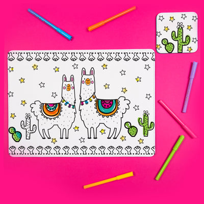 Llamazing Colour Me In Mat & Coaster - Ellybean Designs India