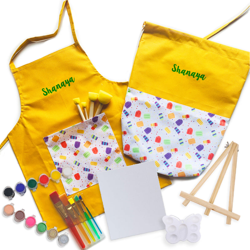 My Art Kit: Personalized Art Bag, Apron & Art Supplies - Ellybean Designs India