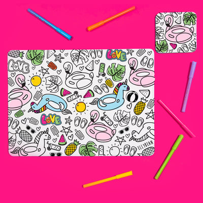 Tropic Like Its Hot: Colour Me In Mat & Coaster - Ellybean Designs India