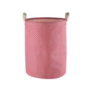 "Furlinic Collapsible Laundry Baskets Large,Eco Foldable Dirty Clothes Stand Storage Hampers,Waterproof Round Inner Drawstring Clothing Bins(Available 17.7"" & 19.7"" Height)-Pink Dots,M."