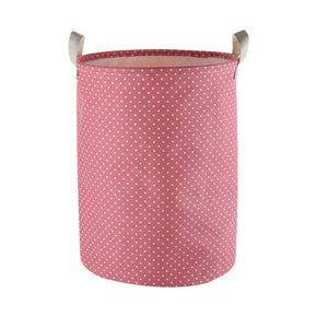 "Furlinic Collapsible Laundry Baskets Large,Eco Foldable Dirty Clothes Stand Storage Hampers,Waterproof Round Inner Drawstring Clothing Bins(Available 17.7"" & 19.7"" Height)-Pink Dots,L."