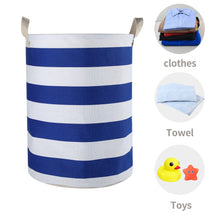 Load image into Gallery viewer, Furlinic Collapsible Laundry Baskets Large Eco Foldable Dirty Clothes Stand Storage Hampers Waterproof Round Inner Drawstring Clothing Bins-XL/H60cm x Ø40cm,Blue Strips.