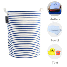 Load image into Gallery viewer, Furlinic Collapsible Laundry Baskets Large Eco Foldable Dirty Clothes Stand Storage Hampers Waterproof Round Inner Drawstring Clothing Bins-XL/H60cm x Ø40cm,Blue Narrow Stripe.