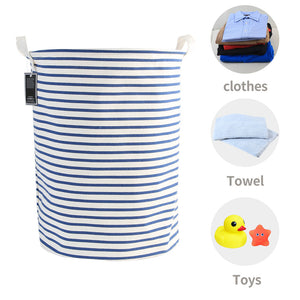 Furlinic Collapsible Laundry Baskets Large Eco Foldable Dirty Clothes Stand Storage Hampers Waterproof Round Inner Drawstring Clothing Bins-XL/H60cm x Ø40cm,Blue Narrow Stripe.