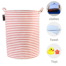 "Load image into Gallery viewer, Furlinic Collapsible Laundry Baskets Large,Eco Foldable Dirty Clothes Stand Storage Hampers,Waterproof Round Inner Drawstring Clothing Bins(Available 17.7"" & 19.7"" Height)-Red Narrow Stripe,M."