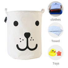 Load image into Gallery viewer, Furlinic Large Laundry Baskets,Collapsible Dirty Clothes Stand Storage Hampers,Foldable Waterproof Round Inner Drawstring Clothing Bins-Smile Dog(65 L).
