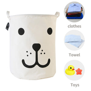 Furlinic Large Laundry Baskets,Collapsible Dirty Clothes Stand Storage Hampers,Foldable Waterproof Round Inner Drawstring Clothing Bins-Smile Dog(65 L).