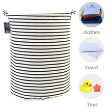 Load image into Gallery viewer, Furlinic Round Linen Laundry Baskets With Fabric Drawstring,Large Collapsible Clothes Storage Basket Waterproof Inner Ideal For Washroom,Bathroom,Restroom-(65 L)Black Narrow Stripe.