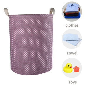"Furlinic Collapsible Laundry Baskets Large Eco Foldable Dirty Clothes Stand Storage Hampers Waterproof Round Inner Drawstring Clothing Bins-15.7"" x (H) 19.7""(2 Pack-Purple Dots & Pink Dots)."