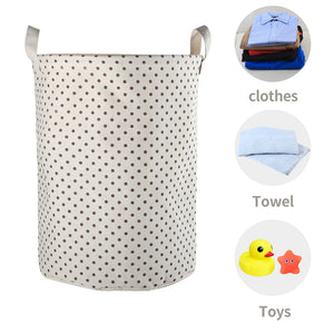 Furlinic Collapsible Laundry Baskets Large Eco Foldable Dirty Clothes Stand Storage Hampers Waterproof Round Inner Drawstring Clothing Bins-XL/H60cm x Ø40cm,White Dots