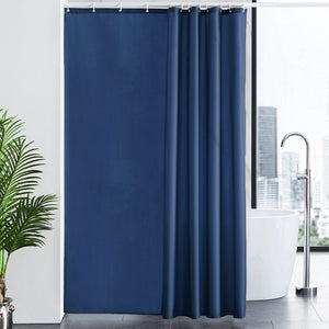 Furlinic Shower Curtain with Hooks,Extra Long 100% Polyester Bathroom Shower Curtains Waterproof(Dark Blue),180 x 210cm(72 x 84 Inch).