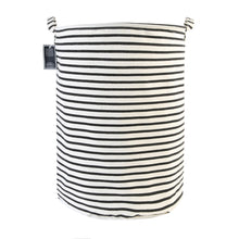 Load image into Gallery viewer, Furlinic Collapsible Laundry Baskets Large Eco Foldable Dirty Clothes Stand Storage Hampers Waterproof Round Inner Drawstring Clothing Bins-XL/H60cm x Ø40cm,Black Narrow Stripe.