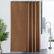 "Load image into Gallery viewer, Furlinic Shower Curtains Extra Large Bathroom Waterproof Fabric Washable Liner Mould Proof,Sets With 12 Plastic Rings-71"" x 82"",Brown."