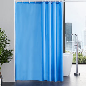 Furlinic Blue Shower Curtains,180 x 210cm Extra Long Bathroom Waterproof Fabric Washable Liner Mould Proof,Sets With 12 PCS Plastic Hooks.