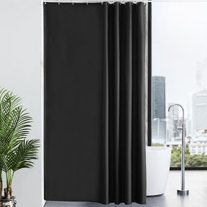 "Furlinic Black Shower Curtains Extra Long Bathroom Waterproof Fabric Washable Liner Mould Proof,Sets With 12 PCS Plastic Hooks W180 x H200cm(72"" x 78"")."