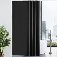 "Load image into Gallery viewer, Furlinic Extra Wide Black Fabric Shower Curtain,Smooth Dustproof Material Curtains for Shower with 16 Plastic Hooks-96"" x 78""."