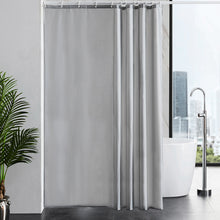 "Load image into Gallery viewer, Furlinic Extra Wide Grey Fabric Shower Curtain,Smooth Dustproof Material Curtains for Shower with 16 Plastic Hooks-96"" x 78""."