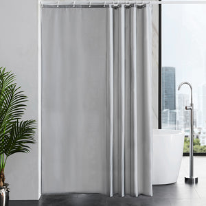 "Furlinic 71"" x 71"" Extra Large Shower Curtain Liner,Duty Waterproof Fabric Curtains for Shower with 12 Plastic Hooks-Grey."