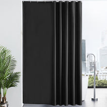 "Load image into Gallery viewer, Furlinic Black Shower Curtains Extra Long Bathroom Waterproof Fabric Washable Liner Mould Proof,Sets With 12 PCS Plastic Hooks W200 x H240cm(78"" x 94"")."