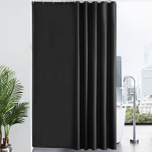"Furlinic Black Shower Curtains Extra Long Bathroom Waterproof Fabric Washable Liner Mould Proof,Sets With 12 PCS Plastic Hooks W200 x H240cm(78"" x 94"")."