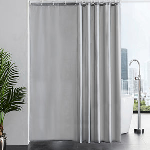 Furlinic Extra Long Shower Curtain With Hooks,100% Polyester Bathroom Shower Curtain Waterproof(Grey),200 x 240cm(78 x 94 Inch).