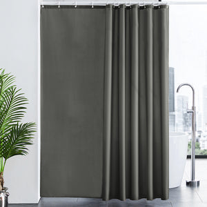 Furlinic Shower Curtain With Hooks,Extra Long 100% Polyester Bathroom Shower Curtains Waterproof(Dark Grey),200 x 240cm(78 x 94 Inch).