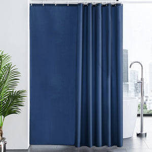 "Furlinic Dark Blue Fabric Shower Curtain Extra Long,Smooth Dustproof Material Curtains for Shower with 12 Plastic Hooks-78"" x 94""."