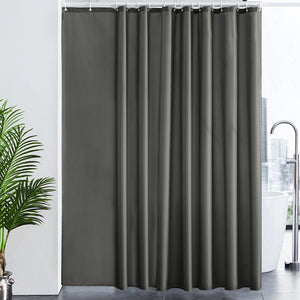 Furlinic Extra Wide Shower Curtain with Hooks,100% Polyester Bathroom Shower Curtain Waterproof(Dark Grey),244 x 200cm(96 x 78 Inch).