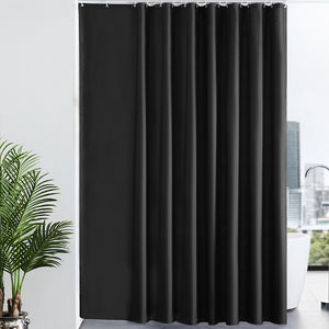 Furlinic Black Shower Curtains Extra Wide Bathroom Waterproof Fabric Washable Liner Mould Proof,Sets With 16 PCS Plastic Hooks W96 x H78(244 x 200cm).