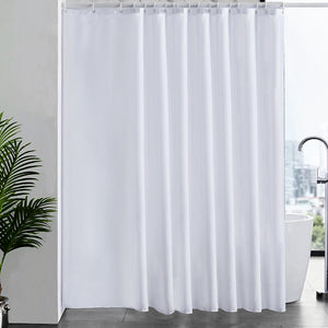 Furlinic Shower Curtains Extra Wide Bathroom Waterproof Fabric Washable Liner Mould Proof,Sets With 16 PCS Plastic Hooks W96 x H78(244 x 200cm)-White.