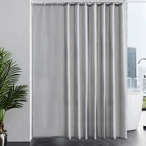 Furlinic Grey Shower Curtains Extra Wide Bathroom Waterproof Fabric Washable Liner Mould Proof,Sets With 16 PCS Plastic Hooks W96 x H78(244 x 200cm).
