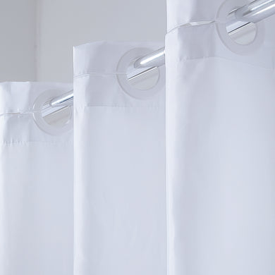 Furlinic Hookless Shower Curtain,Heavy Fabric Washable and Waterproof for Stall or Bathtub.