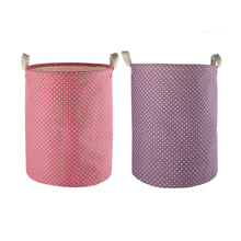 "Load image into Gallery viewer, Furlinic Collapsible Laundry Baskets Large Eco Foldable Dirty Clothes Stand Storage Hampers Waterproof Round Inner Drawstring Clothing Bins-13.7"" x (H) 17.7""(2 Pack-Purple Dots & Pink Dots)."
