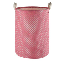 Load image into Gallery viewer, Furlinic Collapsible Laundry Baskets Large Eco Foldable Dirty Clothes Stand Storage Hampers Waterproof Round Inner Drawstring Clothing Bins-XL/H60cm x Ø40cm,Pink Dots,XL.