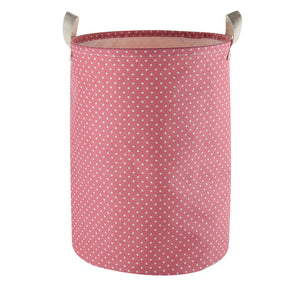 Furlinic Collapsible Laundry Baskets Large Eco Foldable Dirty Clothes Stand Storage Hampers Waterproof Round Inner Drawstring Clothing Bins-XL/H60cm x Ø40cm,Pink Dots,XL.