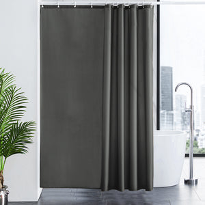 "Furlinic Extra Wide Dark Grey Fabric Shower Curtain,Smooth Dustproof Material Curtains for Shower with 16 Plastic Hooks-96"" x 78""."