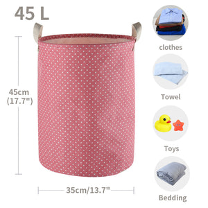 "Furlinic Collapsible Laundry Baskets Large Eco Foldable Dirty Clothes Stand Storage Hampers Waterproof Round Inner Drawstring Clothing Bins-13.7"" x (H) 17.7""(2 Pack-Purple Dots & Pink Dots)."