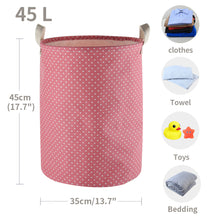 "Load image into Gallery viewer, Furlinic Collapsible Laundry Baskets Large Eco Foldable Dirty Clothes Stand Storage Hampers Waterproof Round Inner Drawstring Clothing Bins-15.7"" x (H) 19.7""(2 Pack-Purple Dots & Pink Dots)."